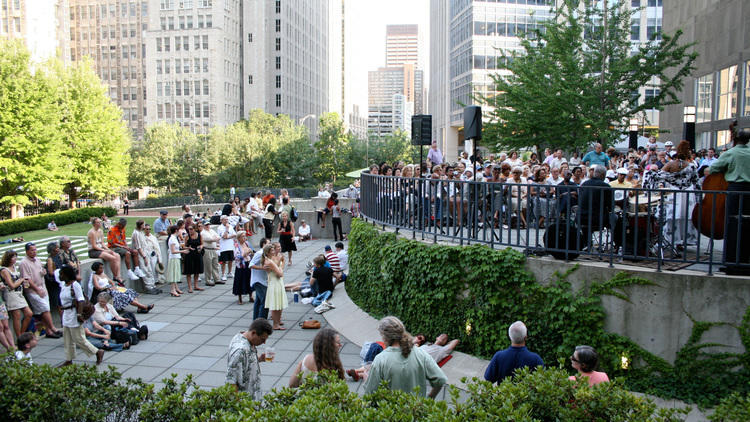 People enjoying live jazz music during Tuesdays at the Terrace