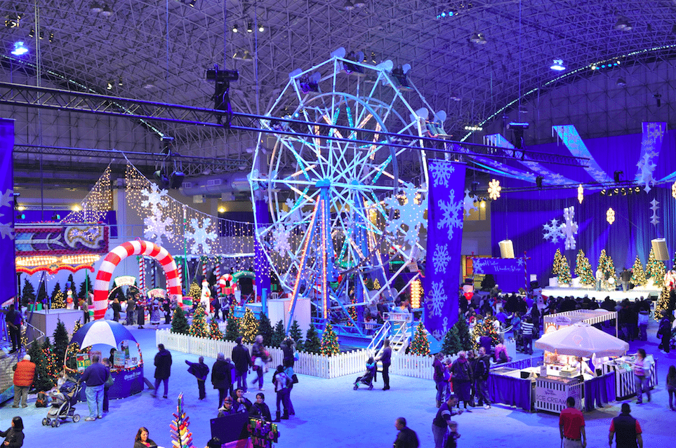 Ferris wheel and festival at Winter Wonderfest at Chicago's Navy Pier